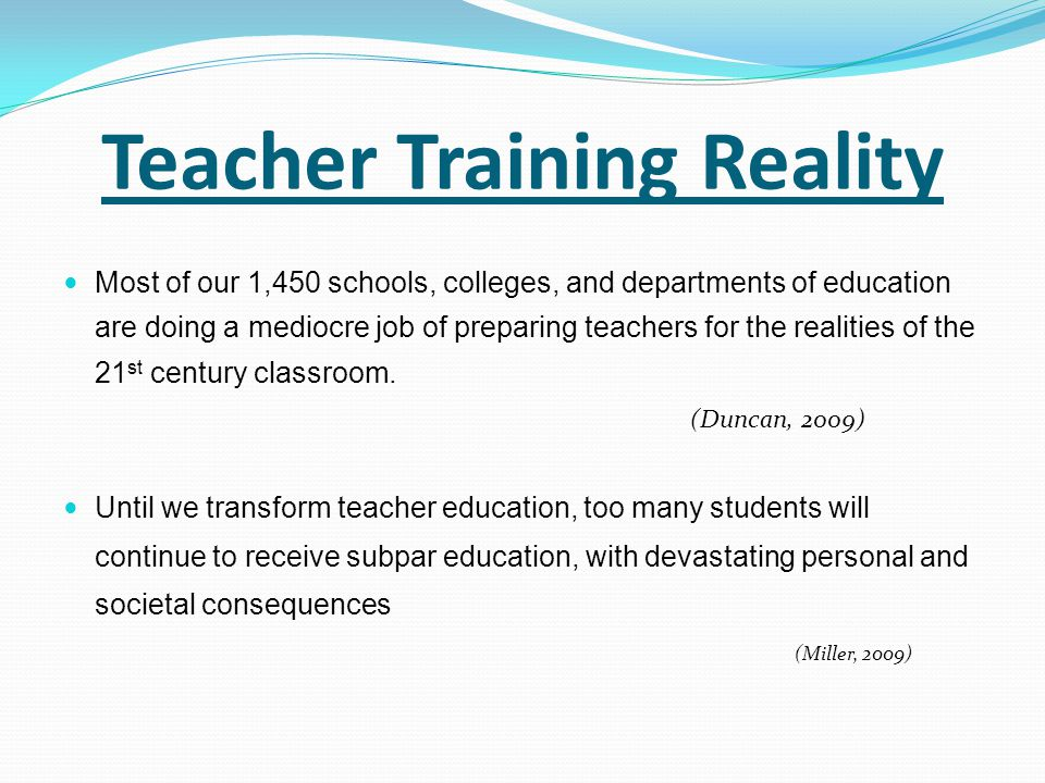 Teacher Training Reality