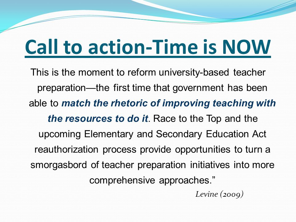 Call to action-Time is NOW