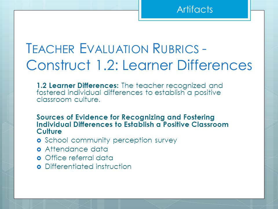 Teacher Evaluation Rubrics - Construct 1.2: Learner Differences