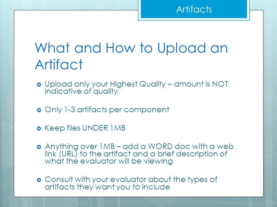 What and How to Upload an Artifact