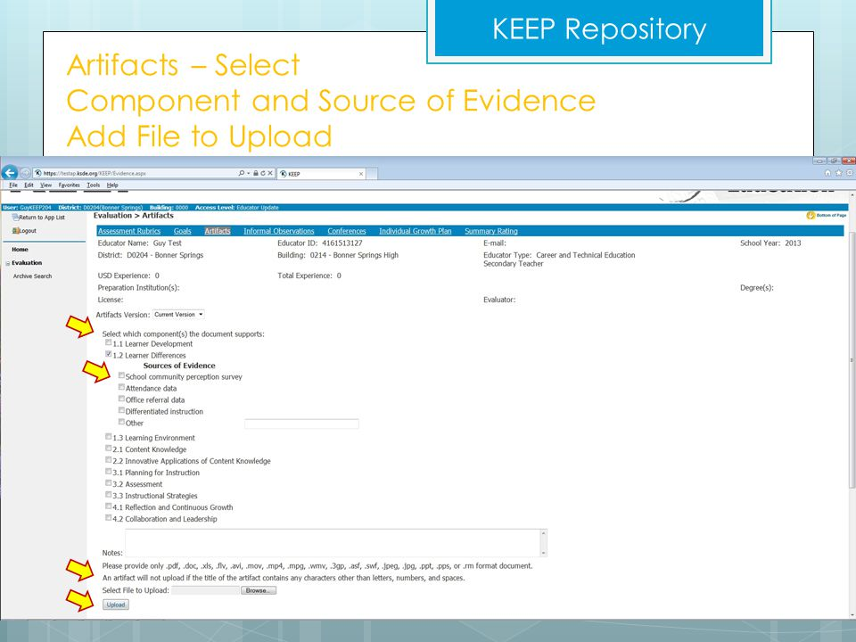 Artifacts – Select Component and Source of Evidence Add File to Upload