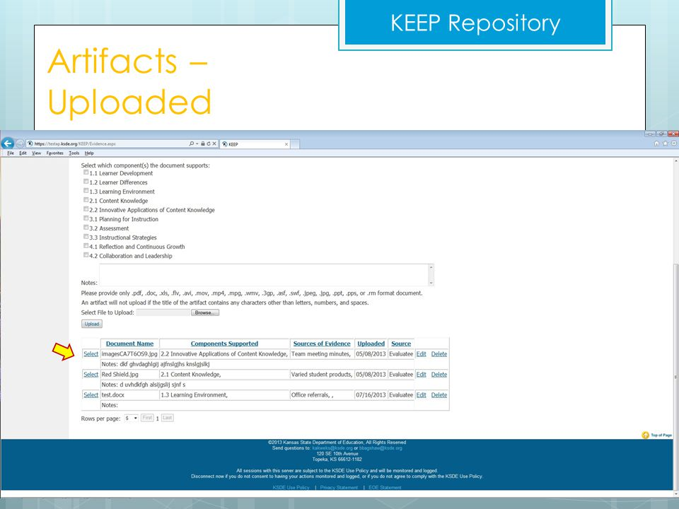 KEEP Repository Artifacts – Uploaded