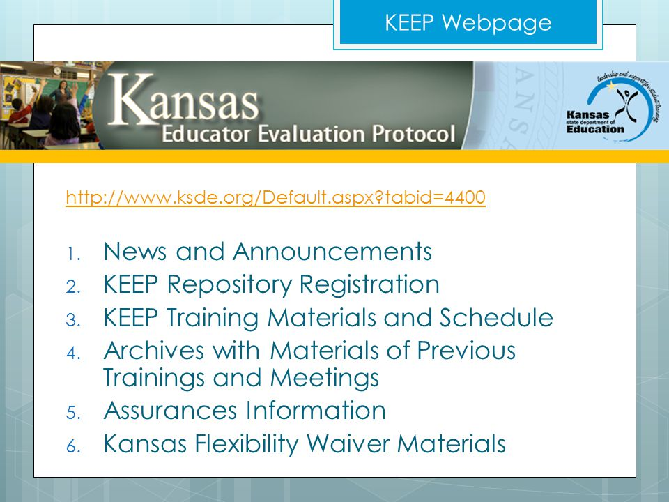 News and Announcements KEEP Repository Registration
