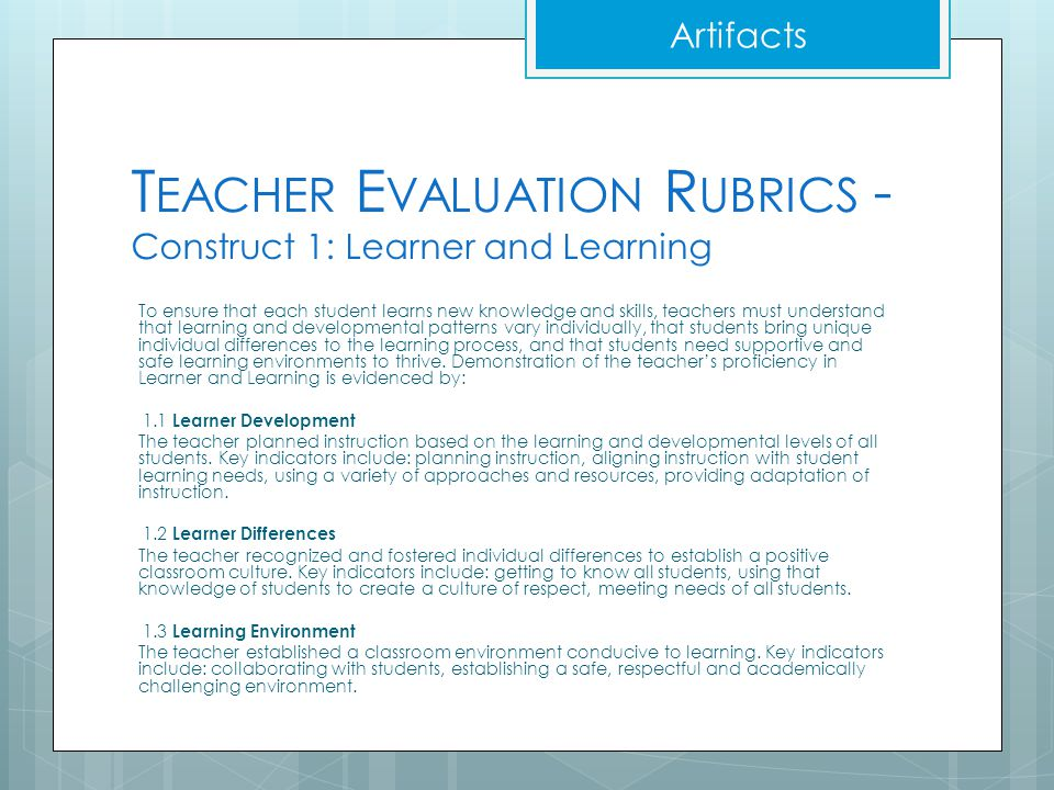 Teacher Evaluation Rubrics - Construct 1: Learner and Learning