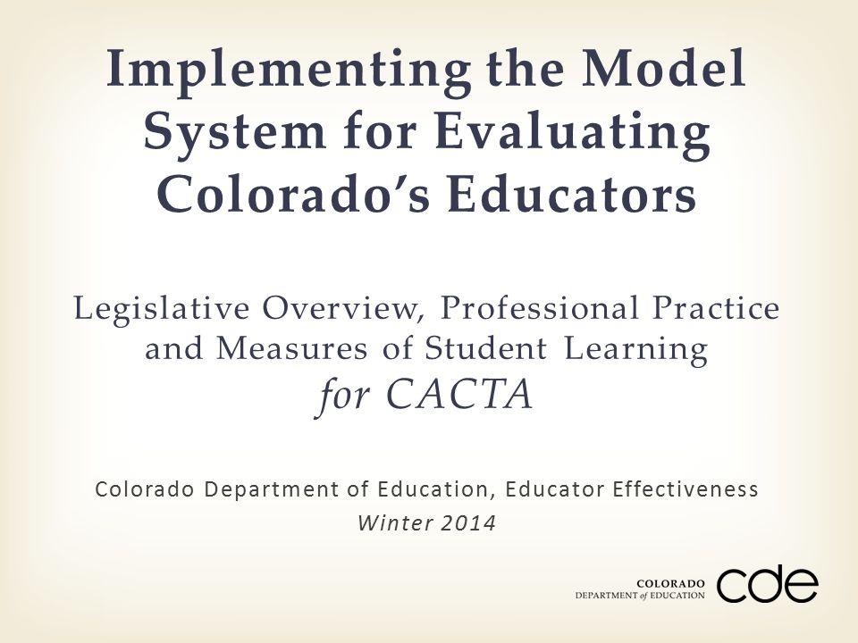 Colorado Department of Education, Educator Effectiveness