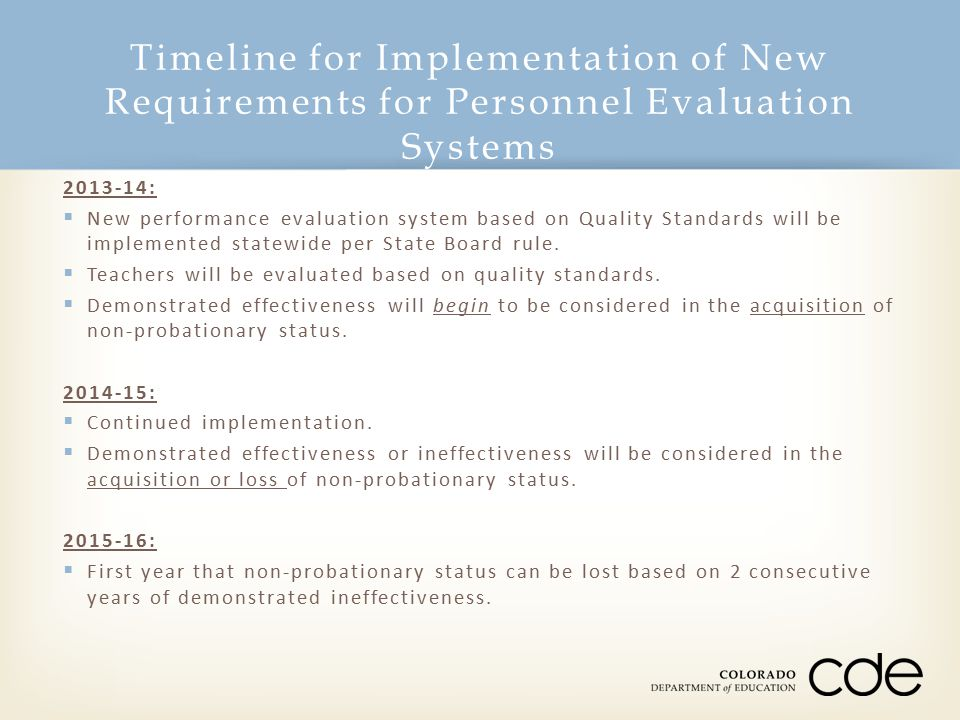 Timeline for Implementation of New Requirements for Personnel Evaluation Systems