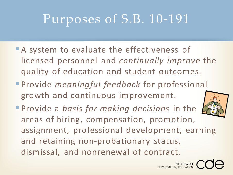 Purposes of S.B. 10-191