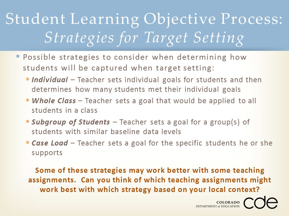 Student Learning Objective Process: Strategies for Target Setting