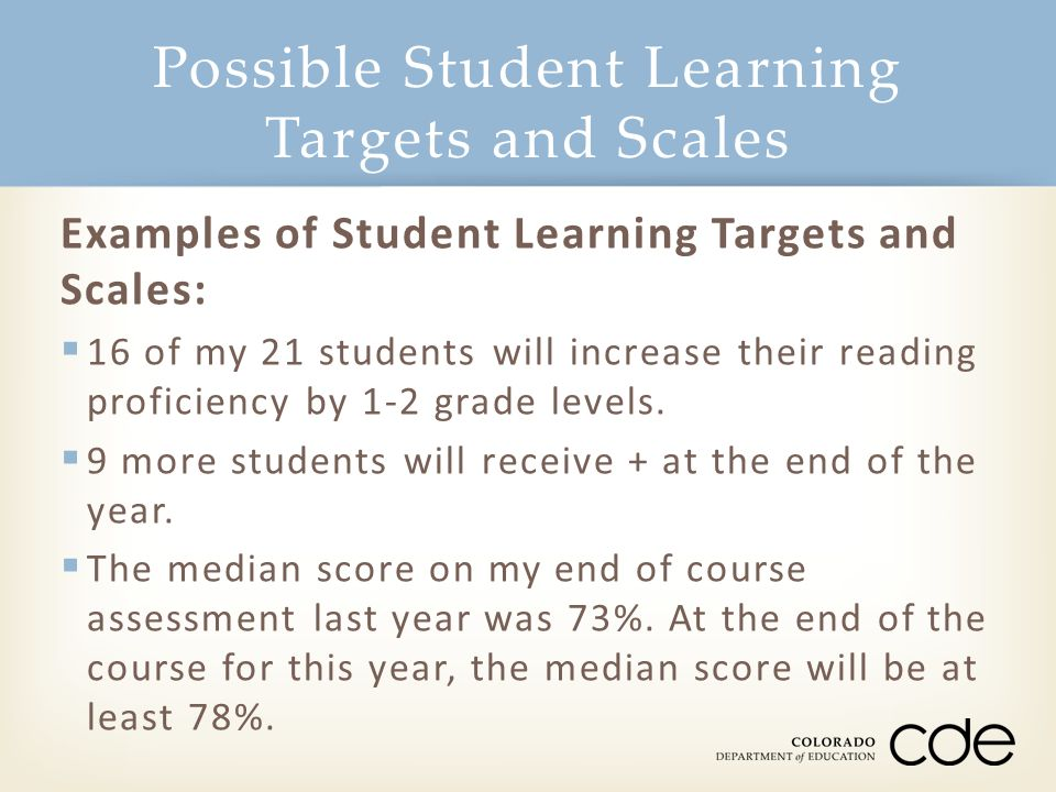 Possible Student Learning Targets and Scales