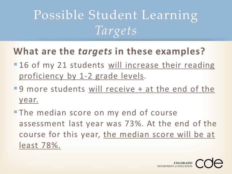 Possible Student Learning Targets