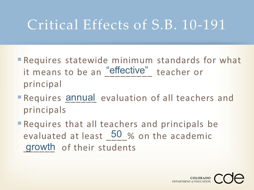 Critical Effects of S.B. 10-191