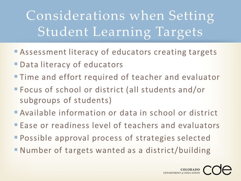 Considerations when Setting Student Learning Targets
