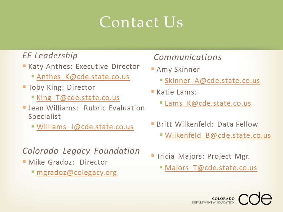 Contact Us Communications Colorado Legacy Foundation EE Leadership
