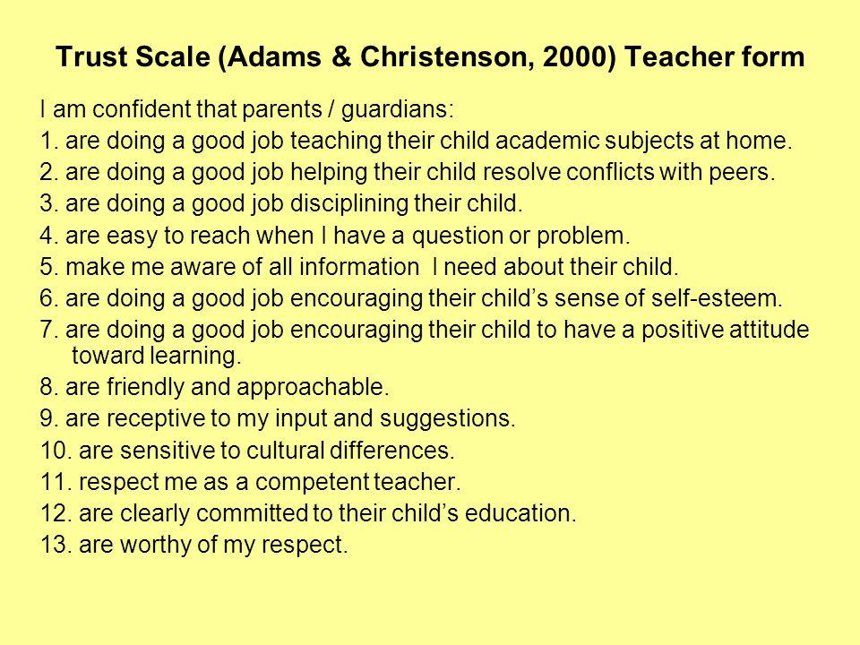 Trust Scale (Adams & Christenson, 2000) Teacher form