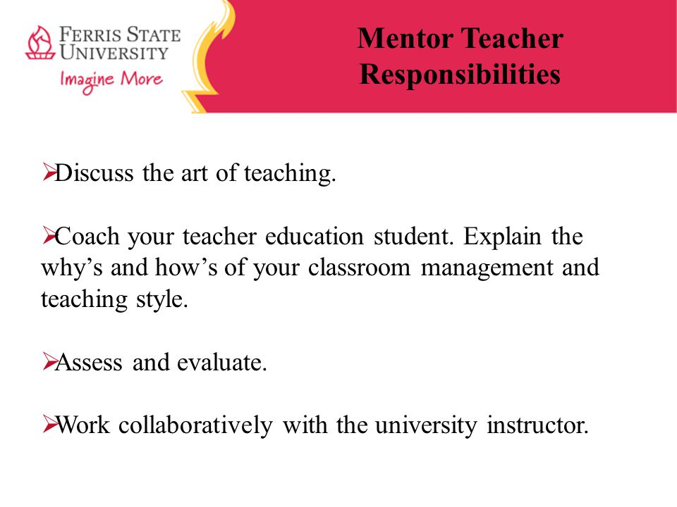 Mentor Teacher Responsibilities