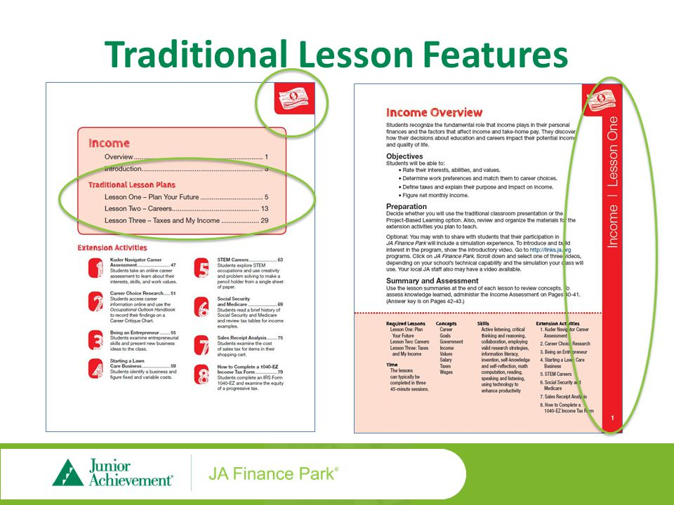 Traditional Lesson Features