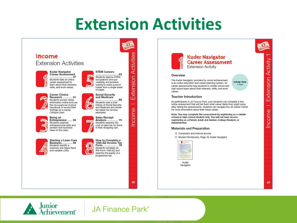 Extension Activity Workbook Pages