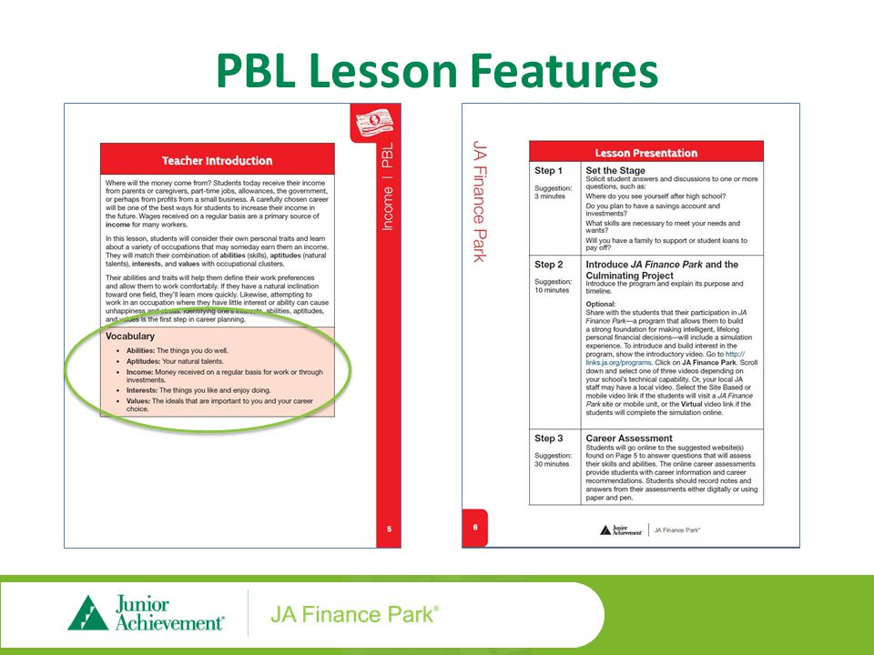 PBL Lesson Features