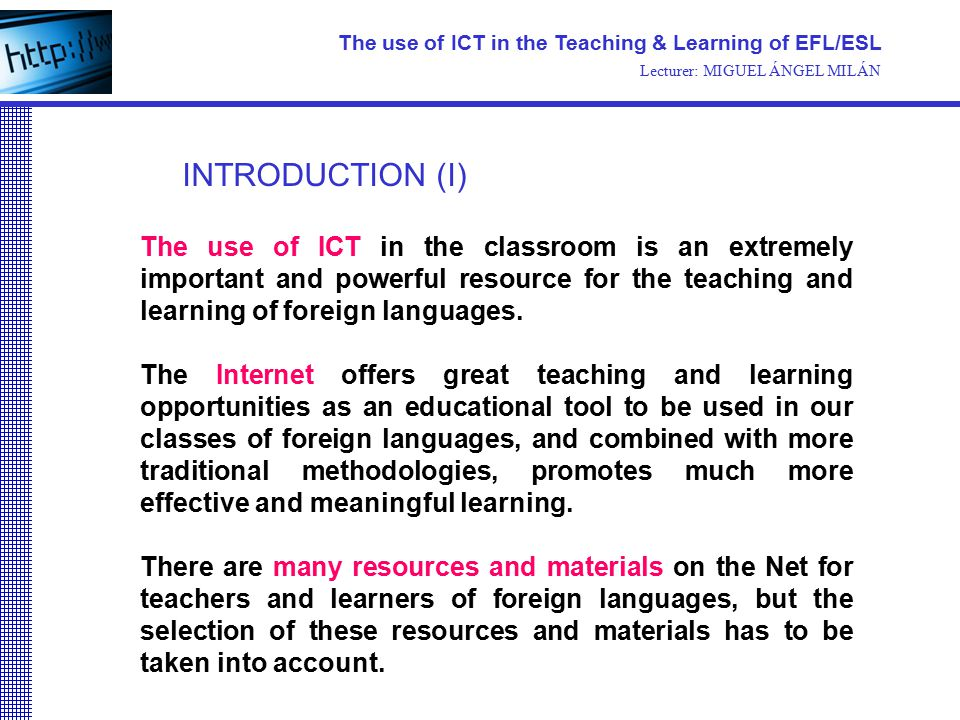english language teaching and ict I want to use a questionnaire to collect data on the use of 'ict and multimedia'-based english language teaching, especially teaching of writing skills.