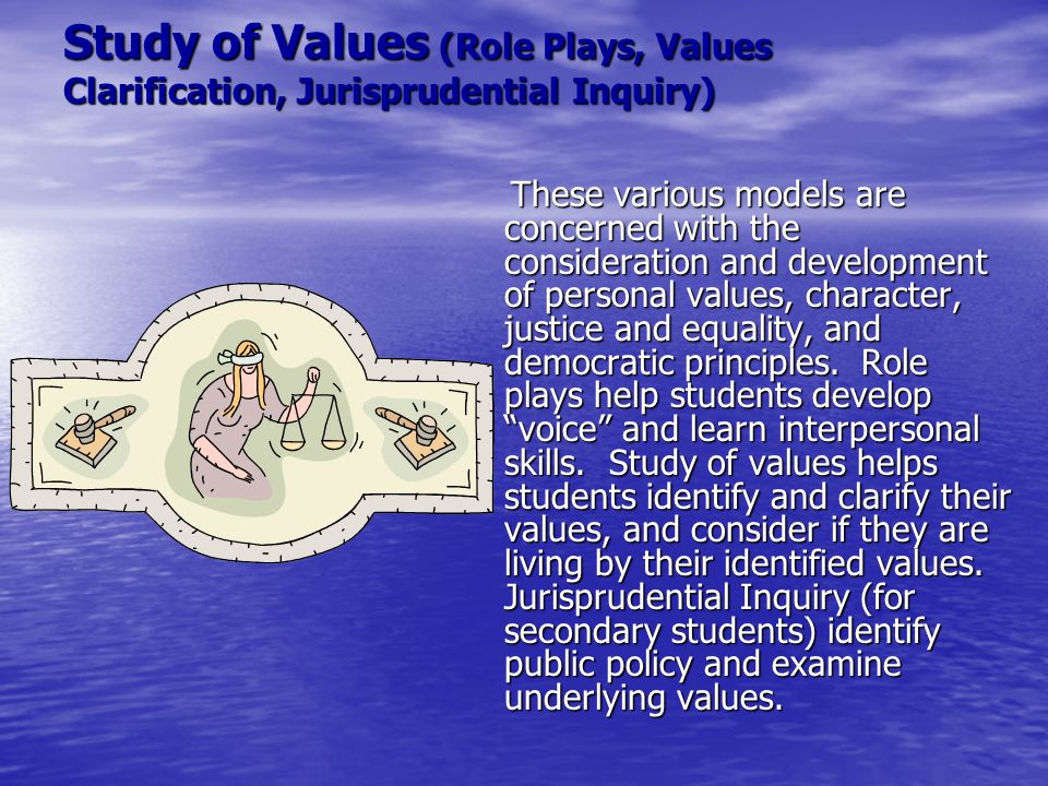Study of Values (Role Plays, Values Clarification, Jurisprudential Inquiry)
