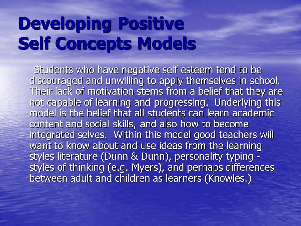Developing Positive Self Concepts Models