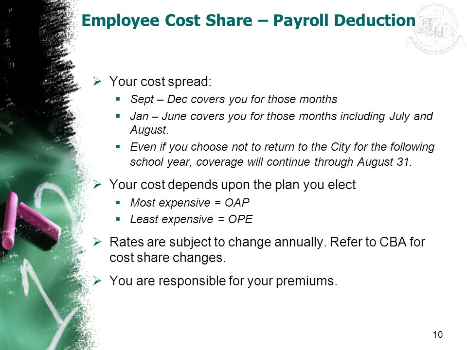 Employee Cost Share – Payroll Deduction