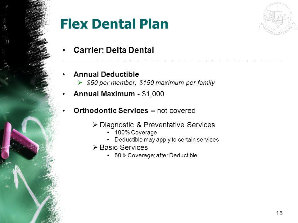 Flex Dental Plan Carrier: Delta Dental Annual Deductible