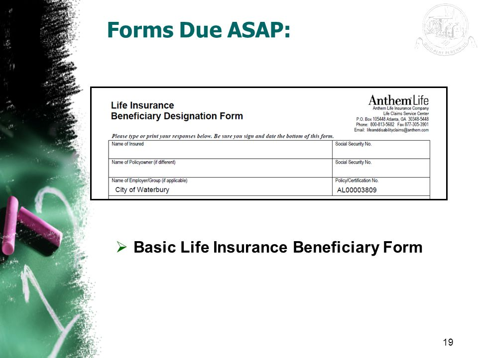 Basic Life Insurance Beneficiary Form