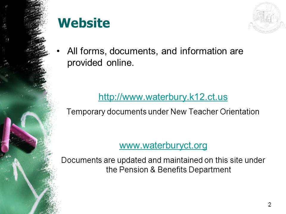 Temporary documents under New Teacher Orientation