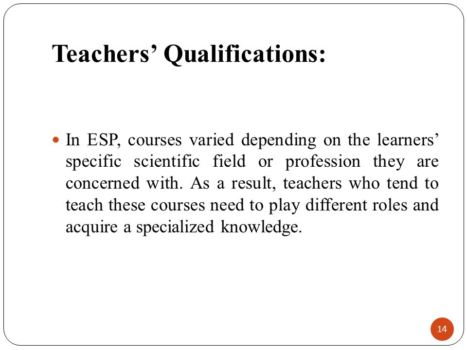 Teachers' Qualifications: