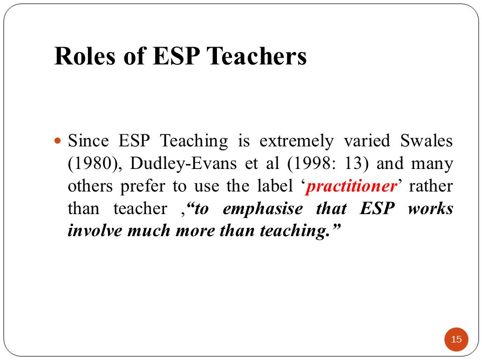 Roles of ESP Teachers