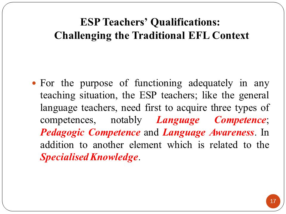 ESP Teachers' Qualifications: Challenging the Traditional EFL Context