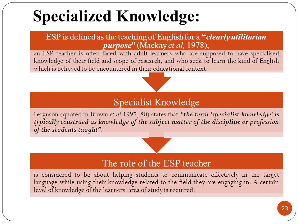 Specialized Knowledge: