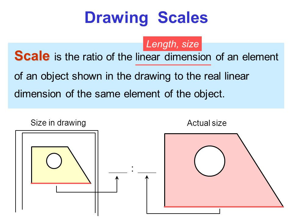Drawing Scales Length, size. Scale is the ratio of the linear dimension of an element. of an object shown in the drawing to the real linear.