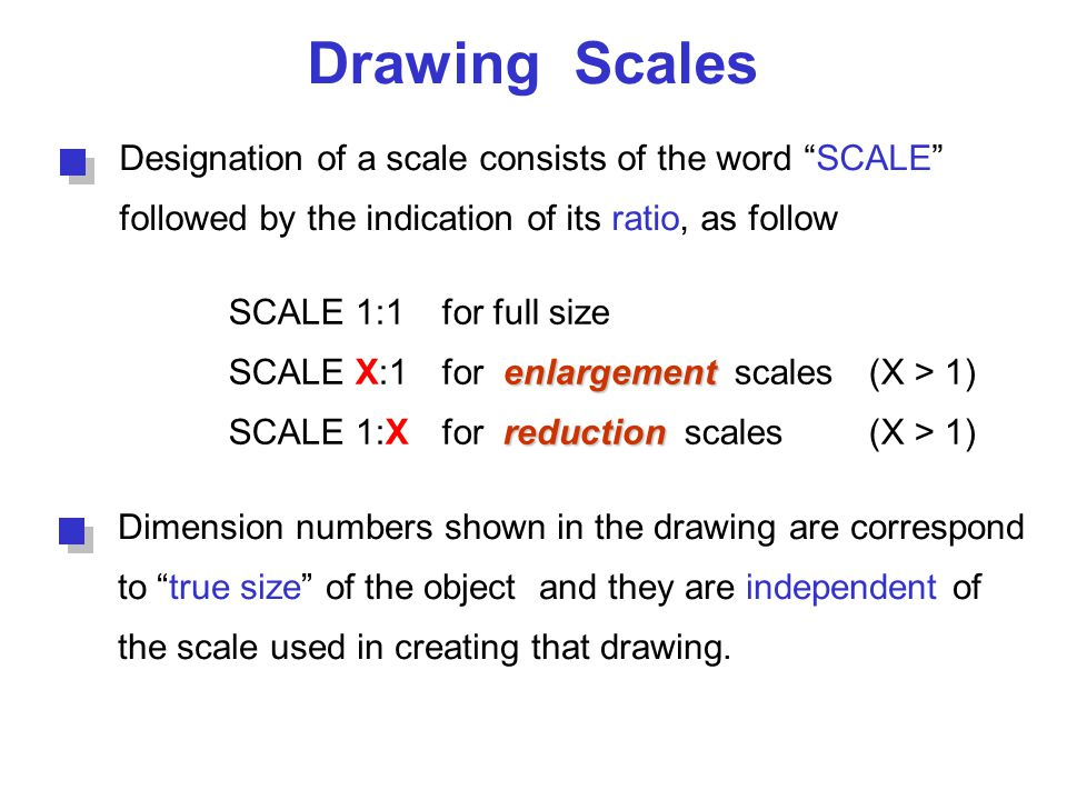 Drawing Scales Designation of a scale consists of the word SCALE