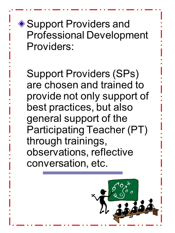 Support Providers and Professional Development Providers: