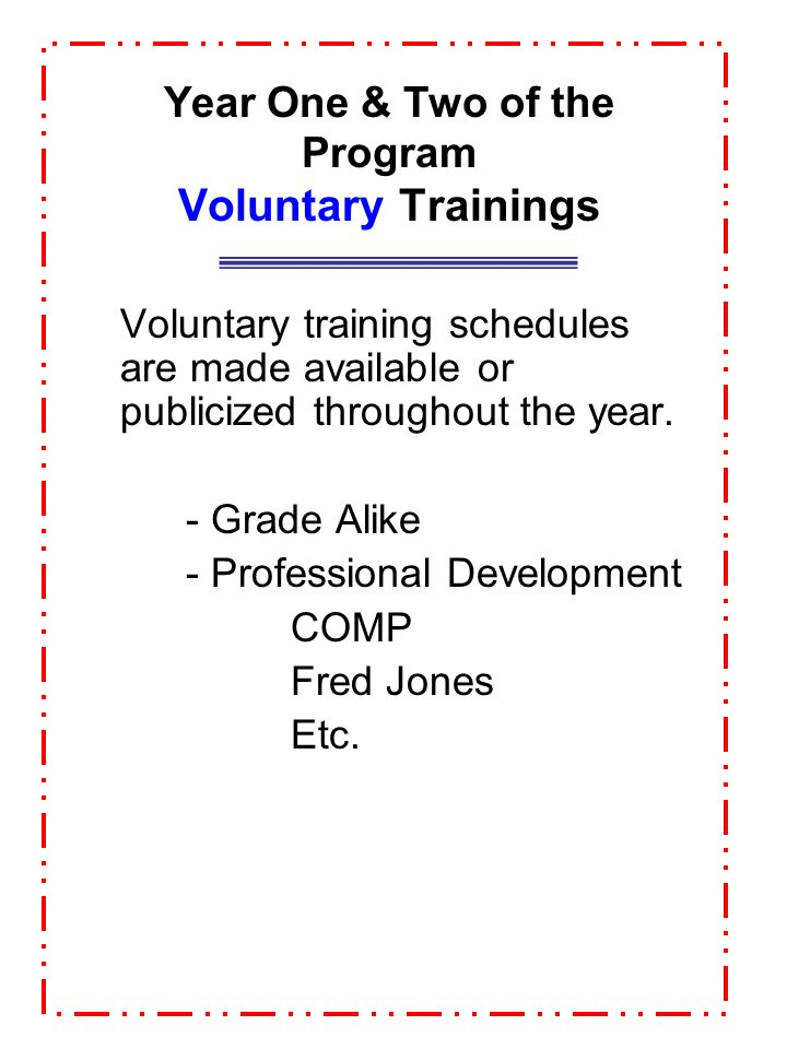Year One & Two of the Program Voluntary Trainings