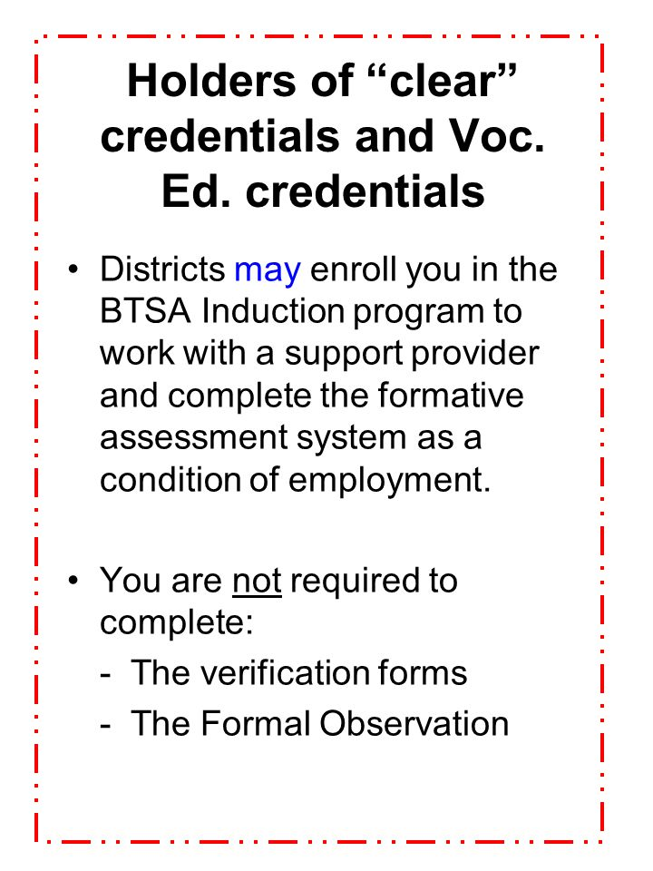 Holders of clear credentials and Voc. Ed. credentials
