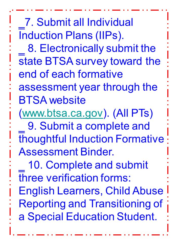 7. Submit all Individual Induction Plans (IIPs).