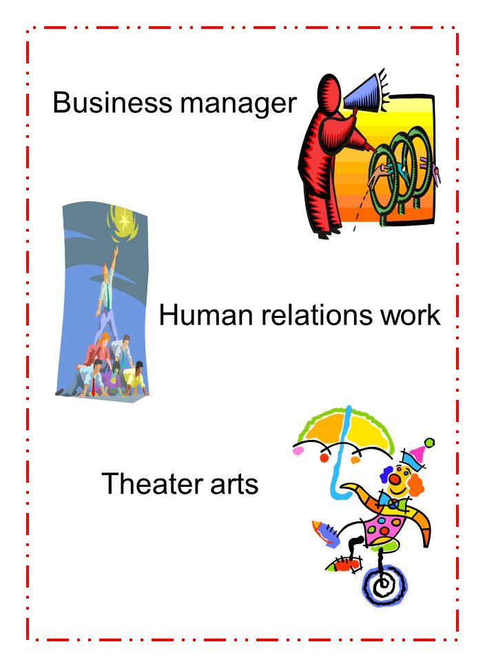 Business manager Human relations work Theater arts