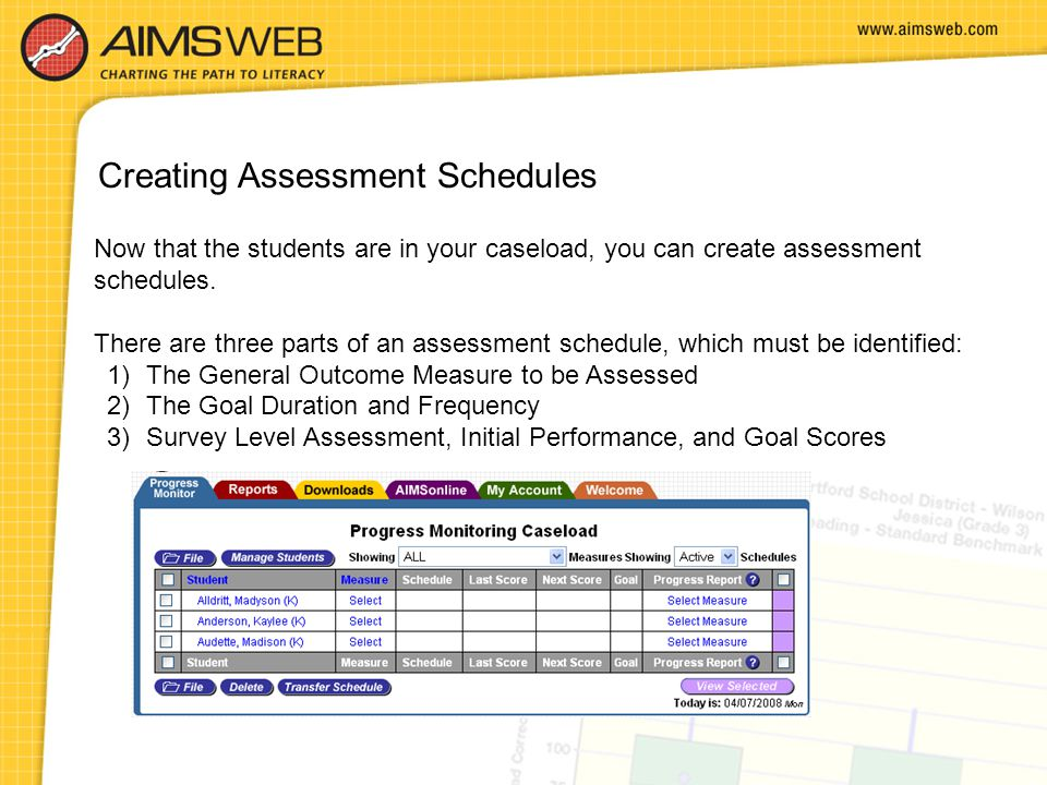 Creating Assessment Schedules
