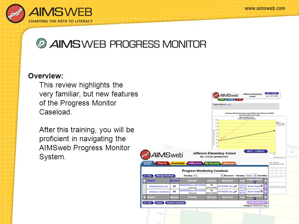 Overview: This review highlights the very familiar, but new features of the Progress Monitor Caseload.