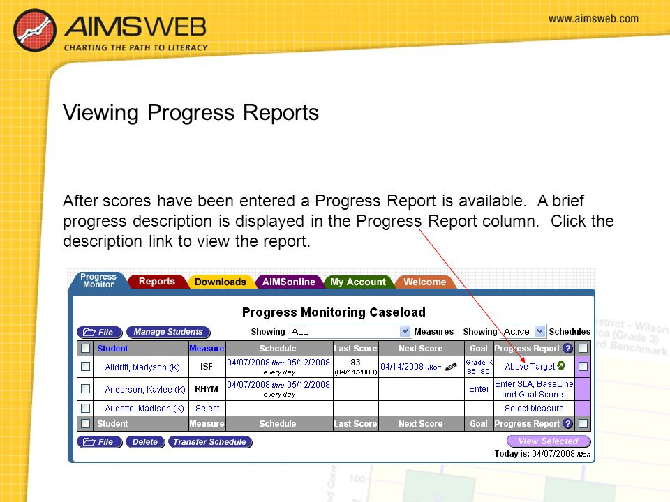 Viewing Progress Reports