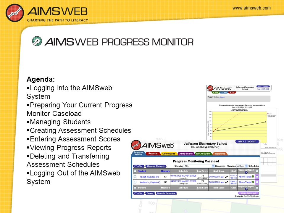 Agenda: Logging into the AIMSweb System. Preparing Your Current Progress Monitor Caseload. Managing Students.
