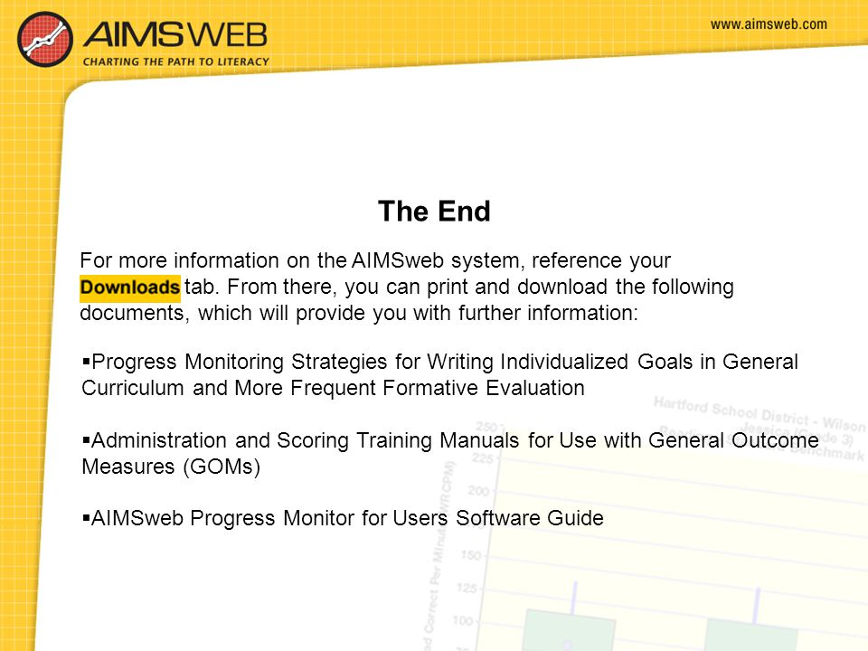 The End For more information on the AIMSweb system, reference your