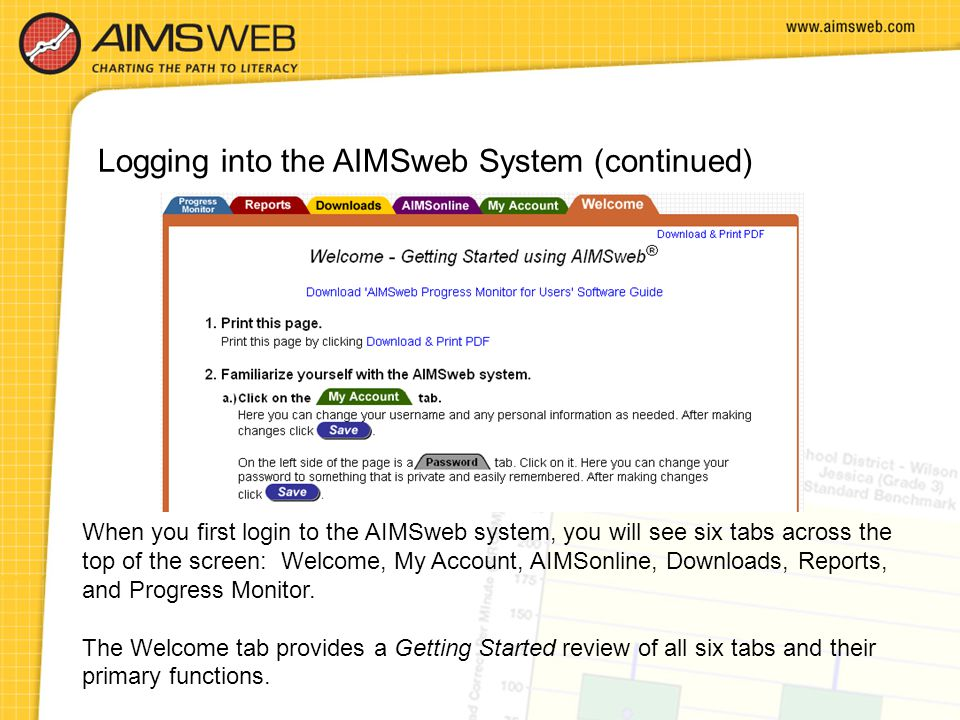 Logging into the AIMSweb System (continued)
