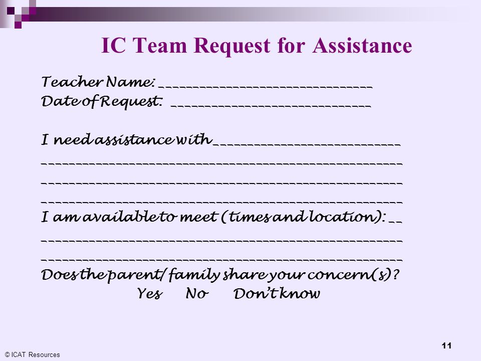 IC Team Request for Assistance
