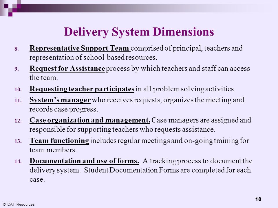 Delivery System Dimensions