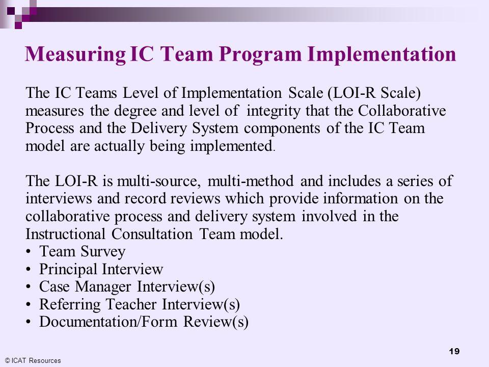 Measuring IC Team Program Implementation