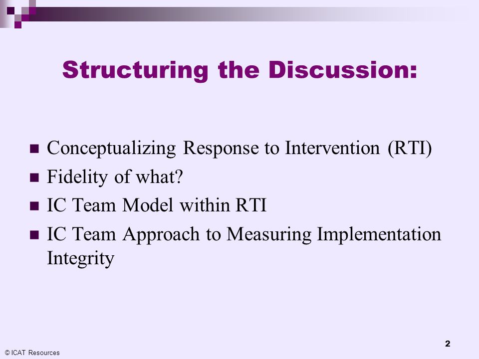 Structuring the Discussion: